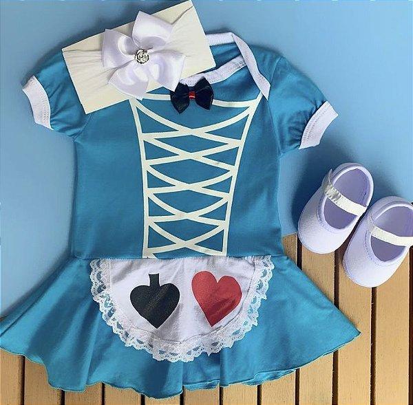 Kit Body Bebê Alice no Pais das Maravilhas e Sapatilha Branca