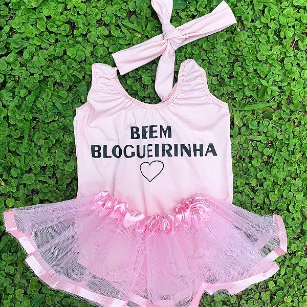 Kit Body Bebê Luxo Tule Beem Blogueirinha Rosa Claro