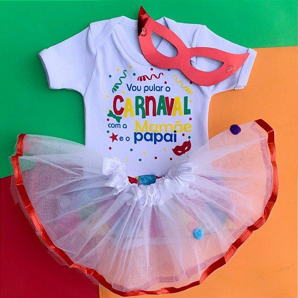 Kit Body Bebê Luxo Tule Carnaval com Máscara