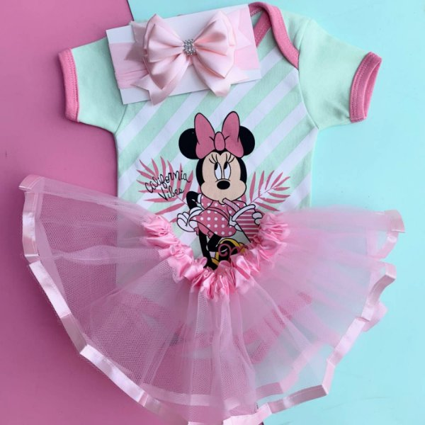 Kit Body Bebê Luxo Tule Minnie California