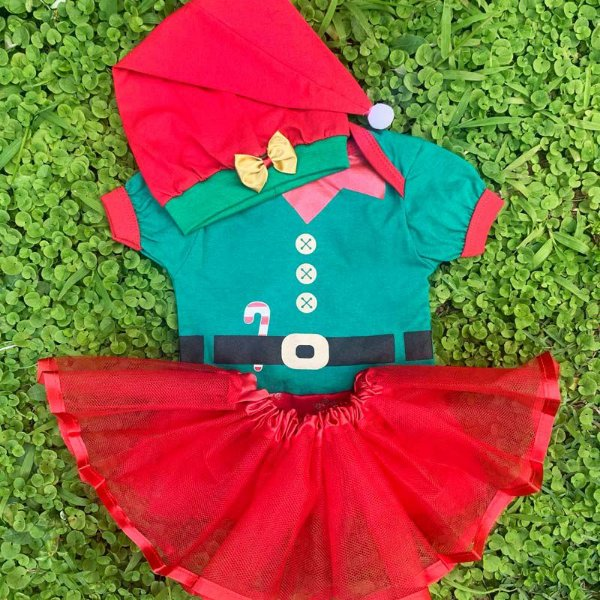 Kit Body Bebê Luxo Tule Natal Ajudante Papai Noel com Gorro