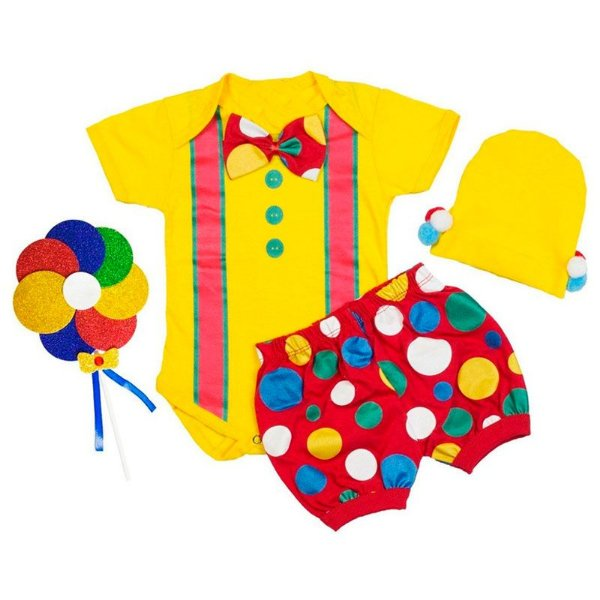 Conjunto Bebê Body Shorts Palhacinho com Touca Pompom e Pirulito Amarelo