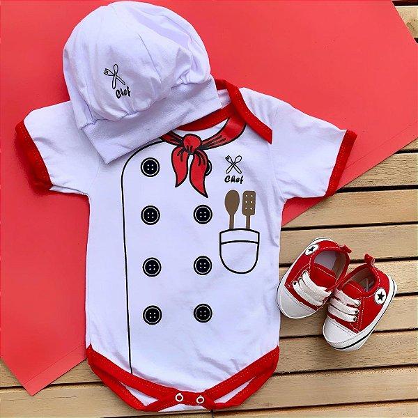 Kit Body Bebê Chef de Cozinha com Boina e Tênis Vermelho