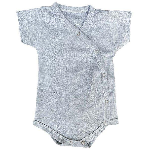 Body Bebê Kimono Manga Curta Cinza Mescla