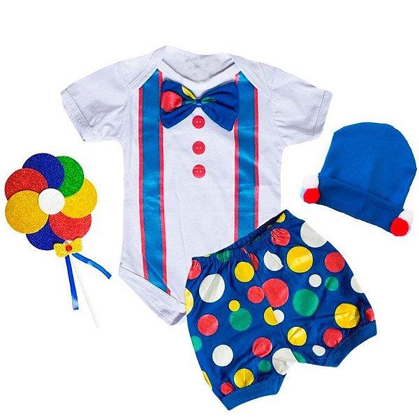 Conjunto Bebê Body Shorts Palhacinho com Touca Pompom e Pirulito Azul