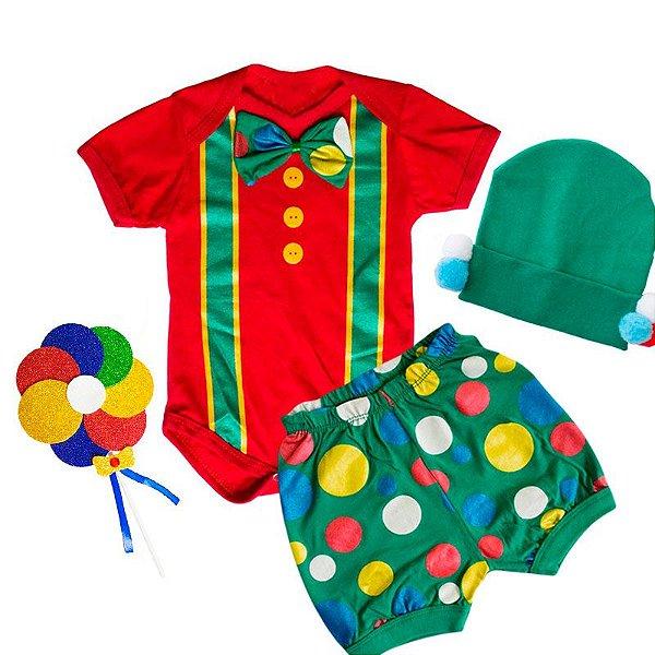 Conjunto Bebê Body Shorts Palhacinho com Touca Pompom e Pirulito Verde