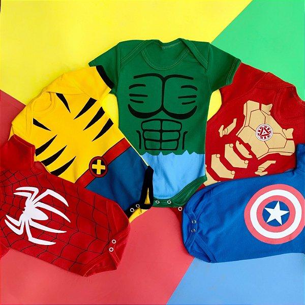 Kit Body Bebê Super Heróis
