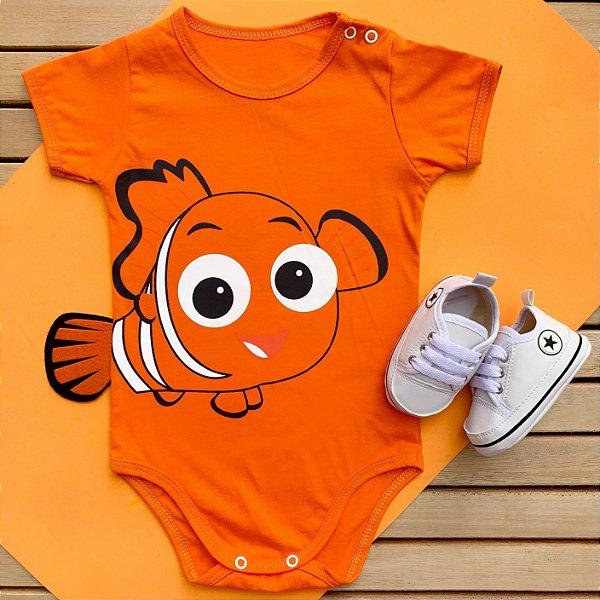 Kit Body Bebê Procurando Nemo com Cauda e Tênis Estrelinha Branco