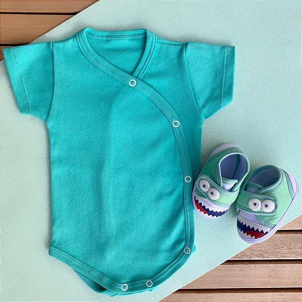 Kit Body Kimono Bebê Verde com Tênis Monstrinho