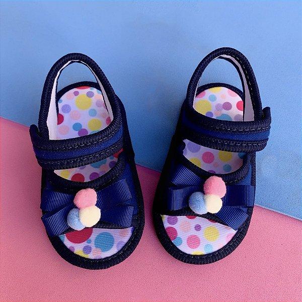 Sandalia Bebê Pompom Azul Marinho
