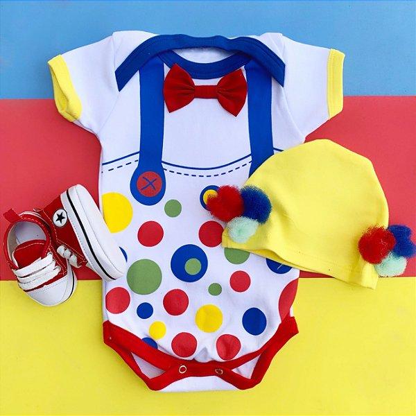 Kit Body Bebê Palhacinho com Touquinha Pompom e Tênis Vermelho
