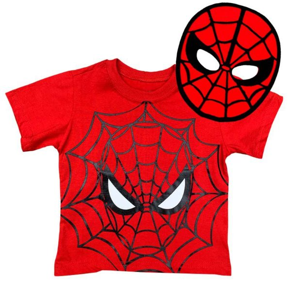 Kit Camiseta Infantil Homem Aranha com Máscara