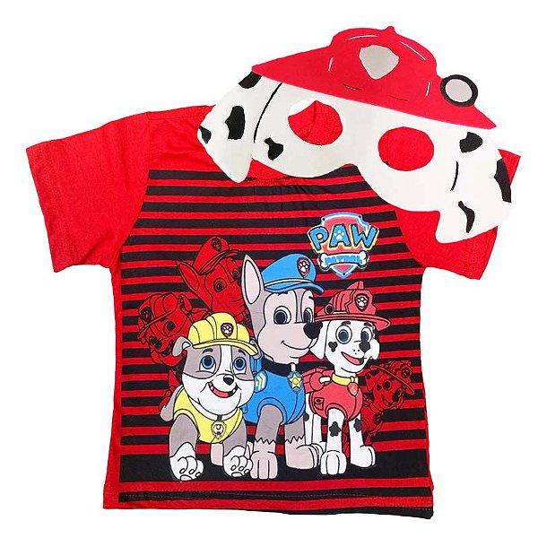 Kit Camiseta Infantil Patrulha Canina com Máscara