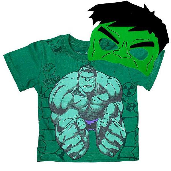 Kit Camiseta Infantil O Incrivel Hulk com Máscara