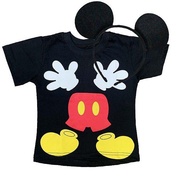 Kit Camiseta Infantil Mickey Maozinha com Tiara Orelhinhas