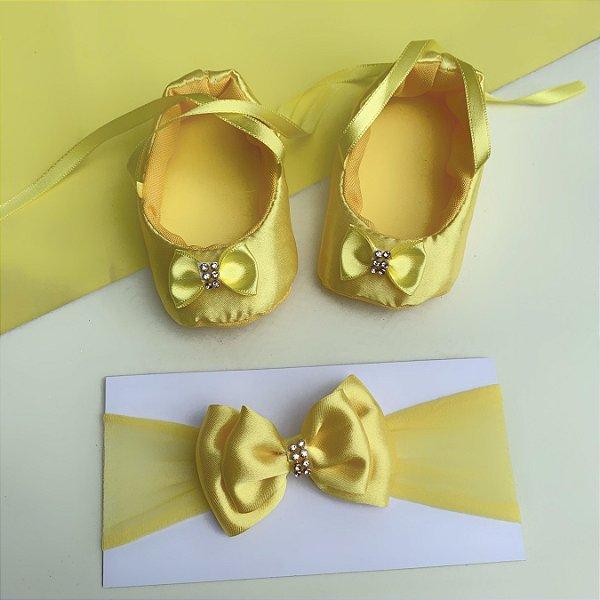 Sapatilha Bebê Laço com Faixa de Cabelo Amarela