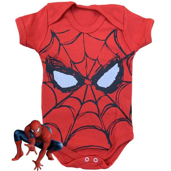Body Bebê Homem Aranha Vermelho