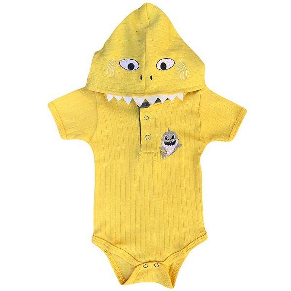 Body Bebê com Capuz Baby Shark Amarelo
