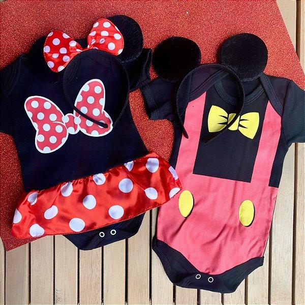 Kit Body Bebê Gêmeos Mickey & Minnie