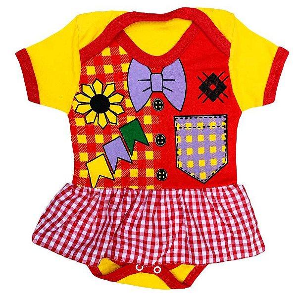 Body Vestido Bebê Festa Junina Caipirinha Menina