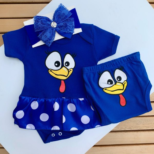 Kit Body Vestido Bebê Galinha Pintadinha com Tapa Fralda e Faixa de Cabelo
