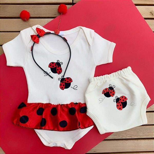 Kit Body Vestido Bebê Joaninha com Tapa Fralda e Tiara