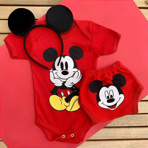 Kit Body Bebê Mickey com Tapa Fralda e Tiara