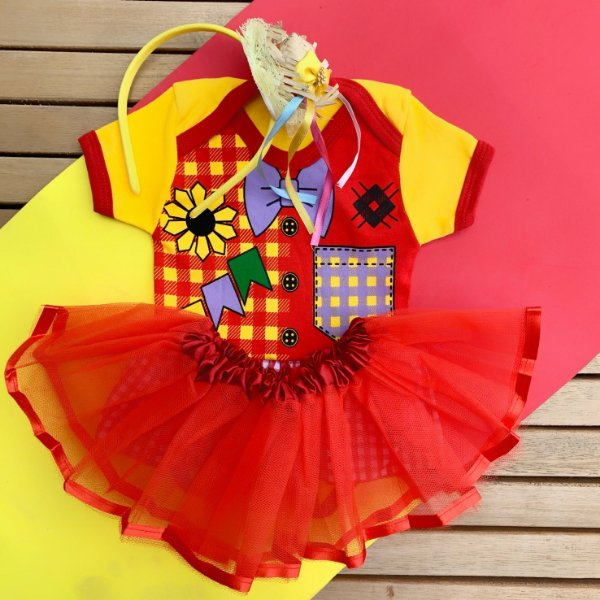 Kit Body Bebê Luxo Tule Festa Junina Caipirinha Menina com Tiara