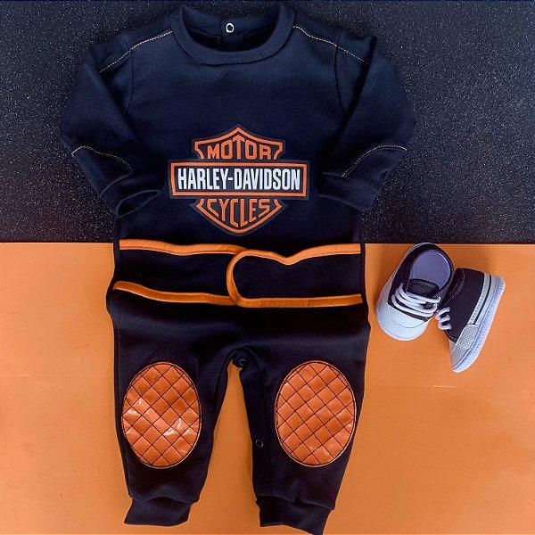 Kit Macacão Bebê Harley Davidson e Tênis Basic Preto