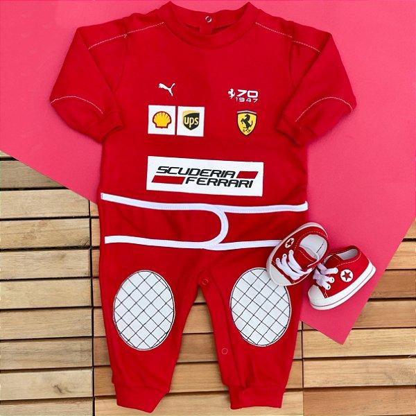 Kit Macacão Bebê Fórmula 1 Scuderia Ferrari e Tênis Vermelho