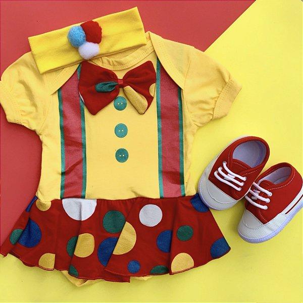 Kit Body Bebê Palhacinha com Faixa de Cabelo e Tênis Vermelho