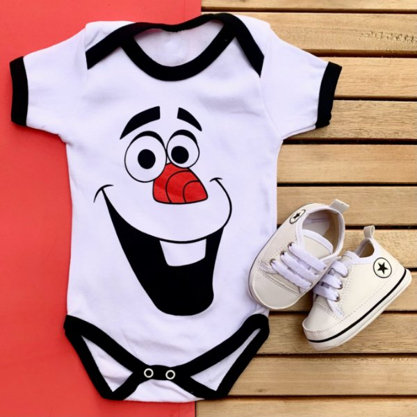 Kit Body Bebê Olaf e Tênis Branco