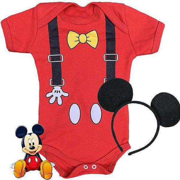 Kit Body Bebê Mickey Suspensório com Tiara Orelhinhas Promo