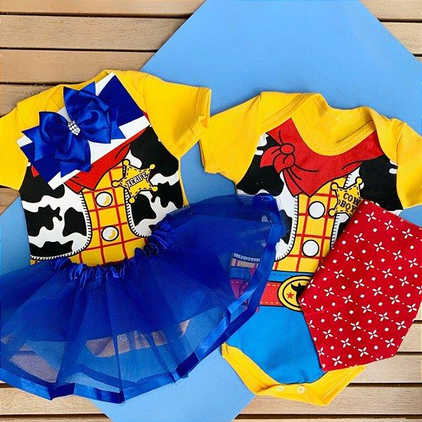 Kit Body Bebê Gêmeos Toy Story Xerife Woody