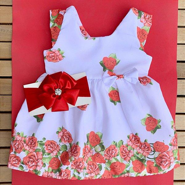 Vestido Floral Branco com Faixa de Cabelo