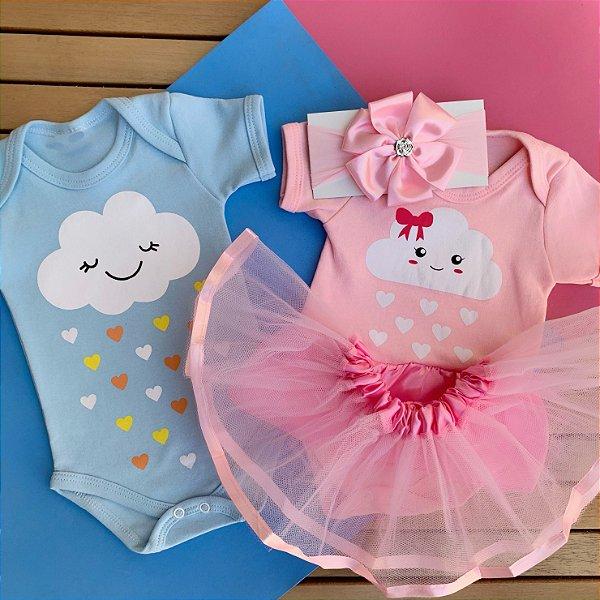 Kit Body Bebê Gêmeos Nuvem Chuva de Amor