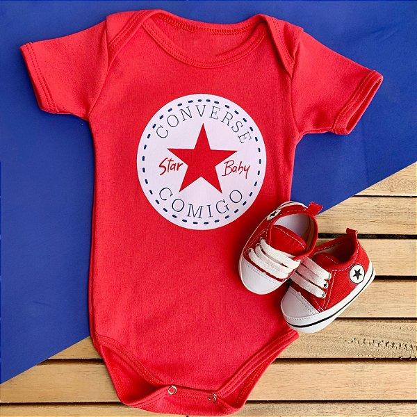 Kit Body Bebê Converse Comigo e Tênis Estrelinha Vermelho