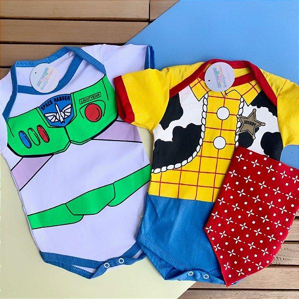 Kit Body Bebê Luxo Gêmeos Toy Story Xerife Woody & Buzz