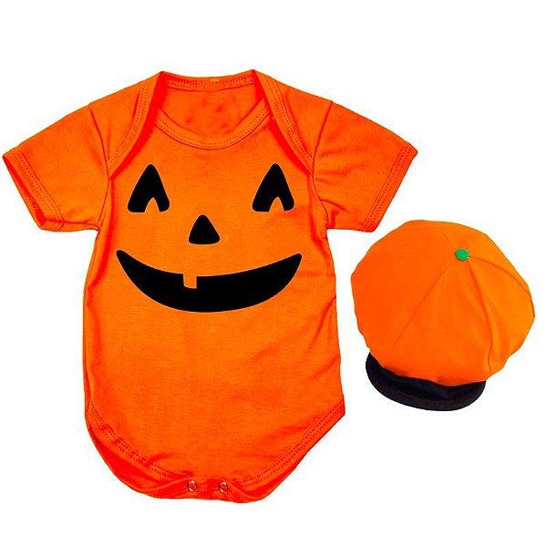 Body Bebê Halloween Abobora com Touquinha