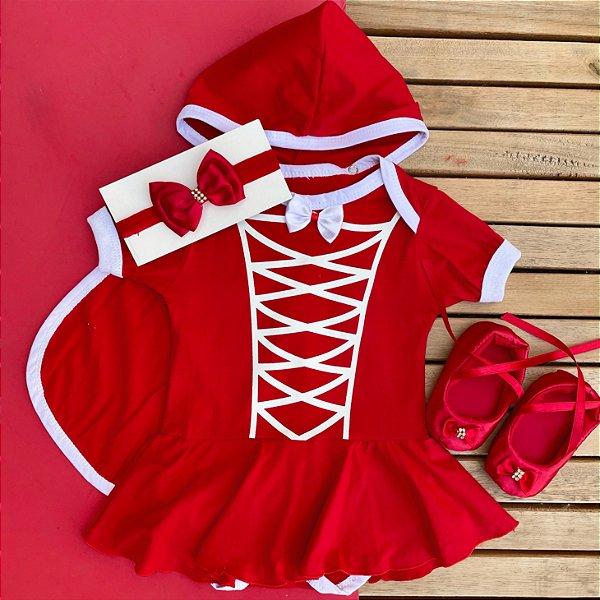 Kit Body Bebê Chapeuzinho Vermelho com Sapatilha e Faixa de Cabelo