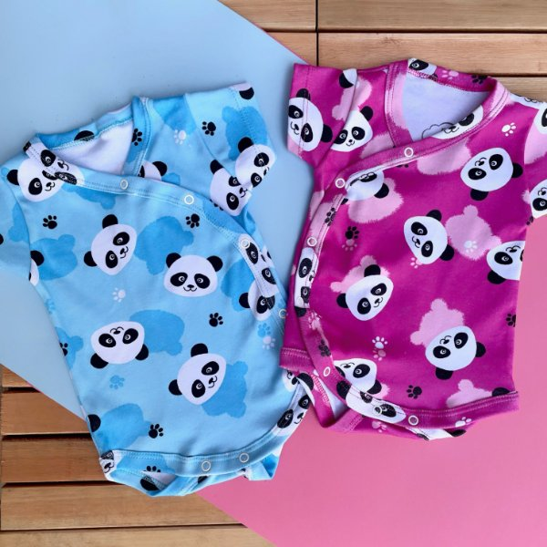 Kit Bebê 2 Body Kimono Manga Curta Panda