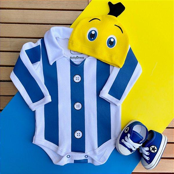 Kit Body Bebê Bananas de Pijama com Touquinha e Tênis Estrelinha Azul