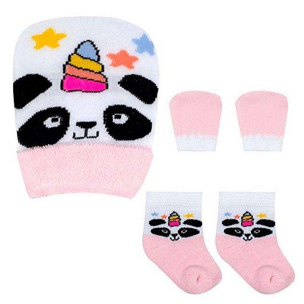 Kit Bebê Fofurinha Meia, Touca e Luva Panda Menina