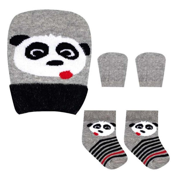 Kit Bebê Fofurinha Meia, Touca e Luva Panda Menino
