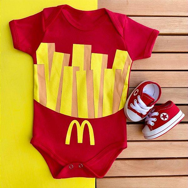 Kit Body Bebê McDonald's e Tênis Estrelinha Vermelho