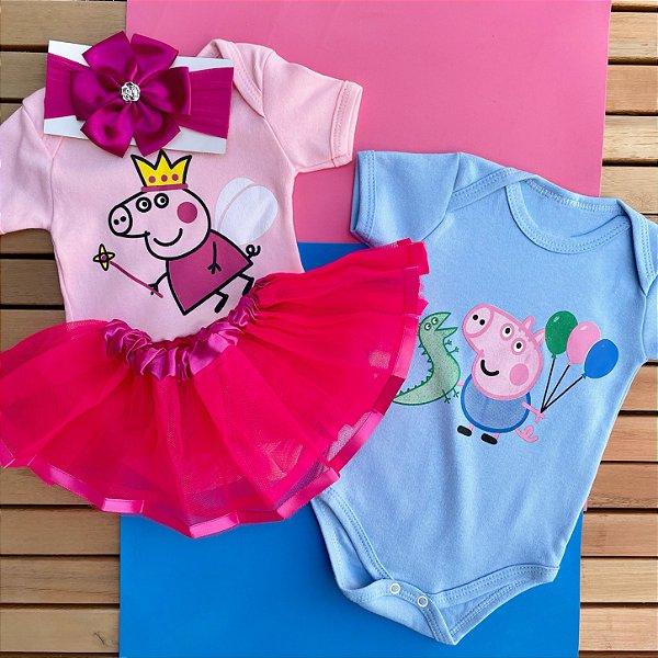 Kit Body Bebê Gêmeos Peppa Pig & George