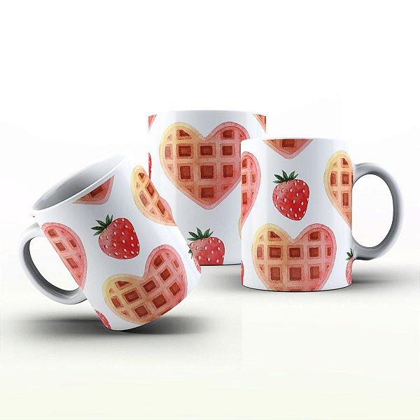Caneca Personalizada Gourmet - Waffle de morango