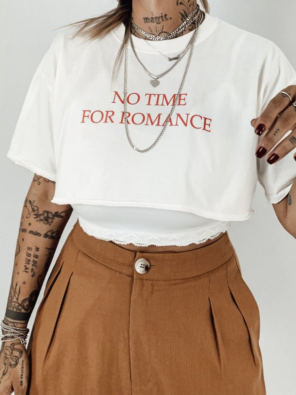 TEE CROPPED NO TIME FOR ROMACE OFFWHITE