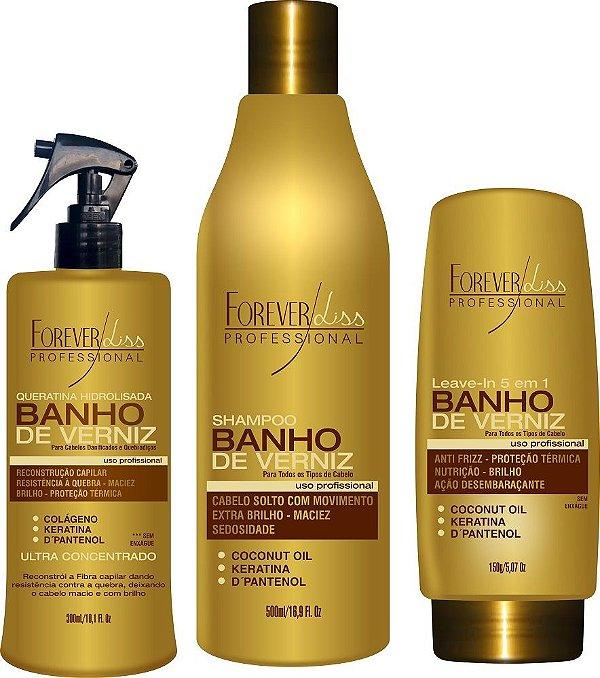 Kit Banho de Verniz Shampoo - Queratina e Leave in Forever Liss
