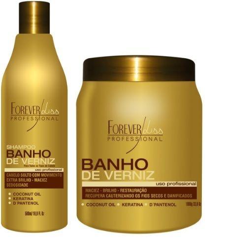 Kit Reconstrução de Brilho Banho de Verniz - Shampoo 500ml + Máscara 1k Forever Liss